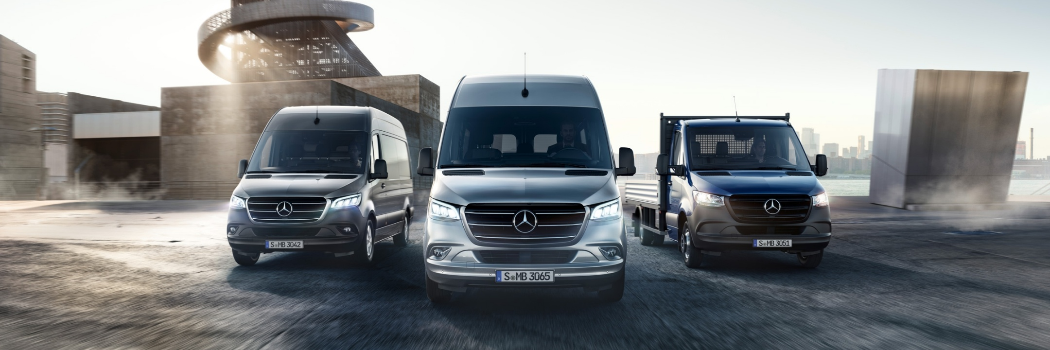 The image shows a range of vehicles including the new Sprinter, Vito and Citan.